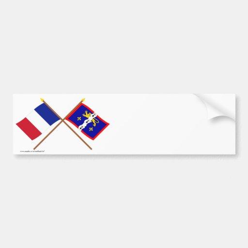 Banderas cruzadas de Francia y de Mayenne Pegatina De Parachoque