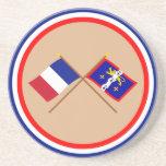 Banderas cruzadas de Francia y de Mayenne Posavasos Manualidades