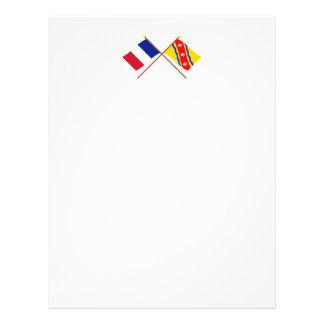 Banderas cruzadas de Francia y de Membrete Personalizado
