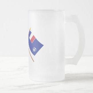 Banderas cruzadas de Francia y de meridional franc Tazas De Café