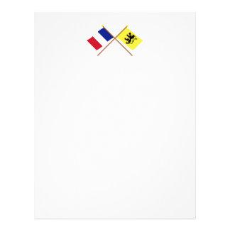 Banderas cruzadas de Francia y de Nord Membrete A Diseño