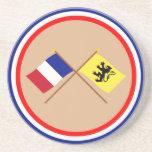 Banderas cruzadas de Francia y de Nord Posavasos Diseño