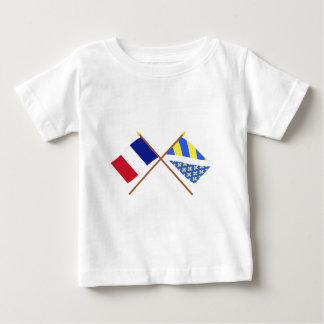 Banderas cruzadas de Francia y de Oise Playeras