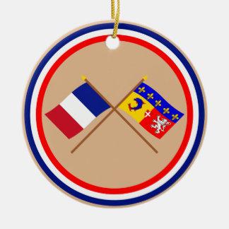 Banderas cruzadas de Francia y de Rhône Alpes Adorno