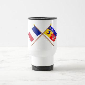 Banderas cruzadas de Francia y de Rhône Alpes Taza