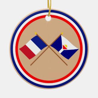 Banderas cruzadas de Francia y de San Martín Adorno Redondo De Cerámica