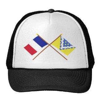 Banderas cruzadas de Francia y de Val-de-Marne Gorras De Camionero