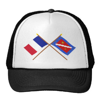Banderas cruzadas de Francia y de Val-d'Oise Gorro
