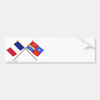 Banderas cruzadas de Francia y de Vaucluse Pegatina De Parachoque