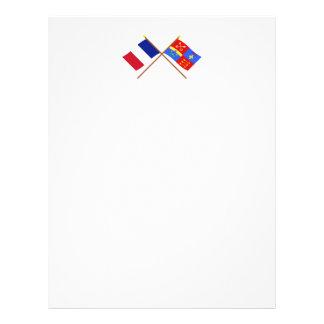 Banderas cruzadas de Francia y de Vaucluse Plantillas De Membrete