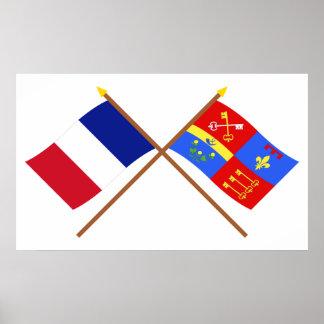 Banderas cruzadas de Francia y de Vaucluse Poster