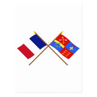 Banderas cruzadas de Francia y de Vaucluse Tarjeta Postal