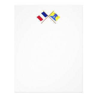 Banderas cruzadas de Francia y del Bouches-du Plantillas De Membrete