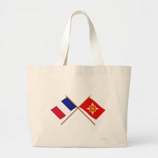 Banderas cruzadas de Francia y del Haute-Garonne Bolsa