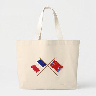 Banderas cruzadas de Francia y del Haute-Loire Bolsa