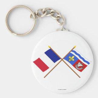 Banderas cruzadas de Francia y del Hauts-de-Seine Llavero Redondo Tipo Pin