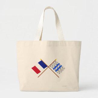 Banderas cruzadas de Francia y del Ille-et-Vilaine Bolsas De Mano