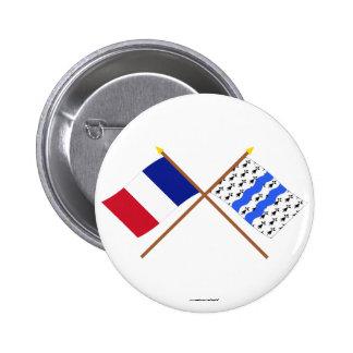 Banderas cruzadas de Francia y del Ille-et-Vilaine Pins
