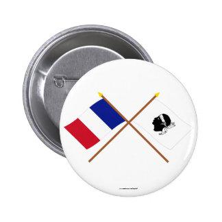 Banderas cruzadas de Francia y del La Corse Pin Redondo De 2 Pulgadas