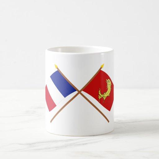 Banderas cruzadas de Francia y del Loira Taza De Café