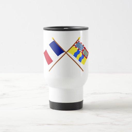 Banderas cruzadas de Francia y del Saône-et-Loire Taza De Café