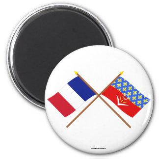 Banderas cruzadas de Francia y del Seine-Saint-Den Iman De Nevera