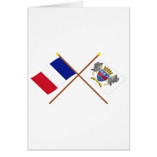 Banderas cruzadas de Francia y del Tarjeta De Felicitación