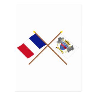 Banderas cruzadas de Francia y del Tarjeta Postal