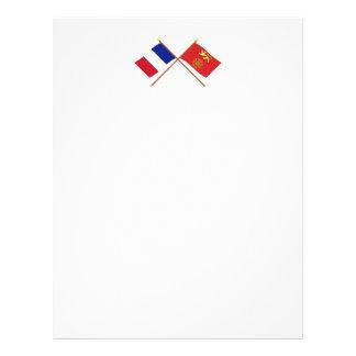 Banderas cruzadas de Francia y del Tarn-et-Garonne Plantillas De Membrete