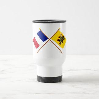 Banderas cruzadas de Francia y del Taza De Viaje