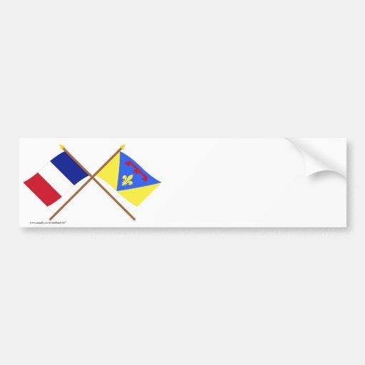 Banderas cruzadas de Francia y del Var Pegatina De Parachoque