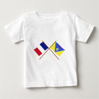 Banderas cruzadas de Francia y del Var Playera