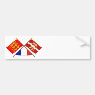 Banderas cruzadas de Haute-Normandie y del Pegatina Para Auto