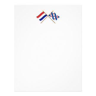 Banderas cruzadas de Holanda y de Frisia Membrete