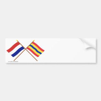 Banderas cruzadas de Holanda y de Overijssel Etiqueta De Parachoque