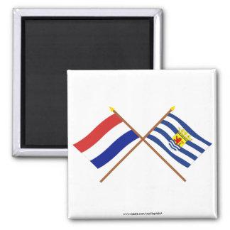 Banderas cruzadas de Holanda y de Zelanda Imán De Nevera