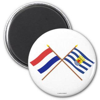 Banderas cruzadas de Holanda y de Zelanda Imán Para Frigorifico