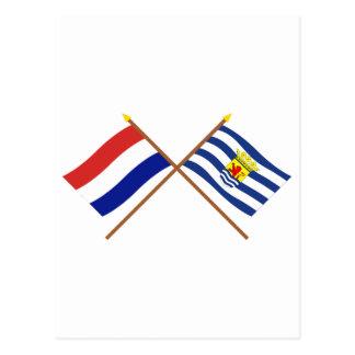 Banderas cruzadas de Holanda y de Zelanda Postal