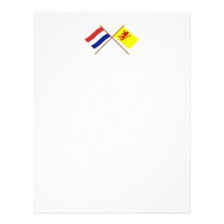 Banderas cruzadas de Holanda y de Zuid-Holland Plantillas De Membrete