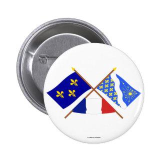 Banderas cruzadas de Île-de-Francia y de Essonne Pins