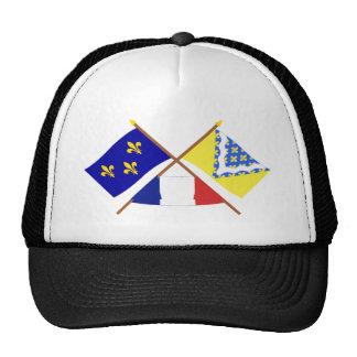 Banderas cruzadas de Île-de-Francia y de Val-de-Ma Gorras