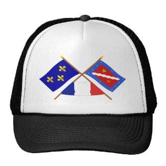 Banderas cruzadas de Île-de-Francia y de Val-d'Ois Gorras De Camionero