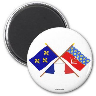 Banderas cruzadas de Île-de-Francia y del Seine-Sa Imán De Nevera