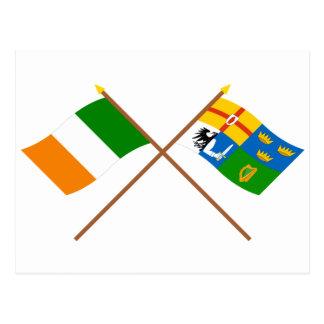 Banderas cruzadas de Irlanda y de la Cuatro-Provin Tarjetas Postales