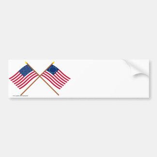 Banderas cruzadas de la estrella de los E.E.U.U. 5 Pegatina Para Auto