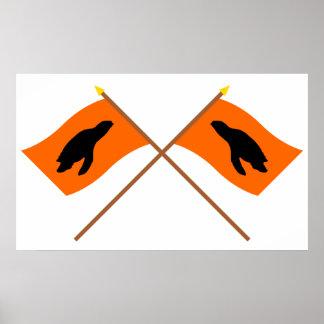 Banderas cruzadas de la jerarquización de la tortu posters