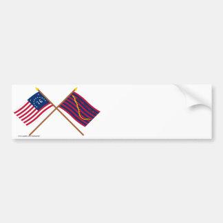 Banderas cruzadas de la marina de guerra de Bennin Etiqueta De Parachoque