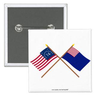 Banderas cruzadas de la marina de guerra de Bennin Pins
