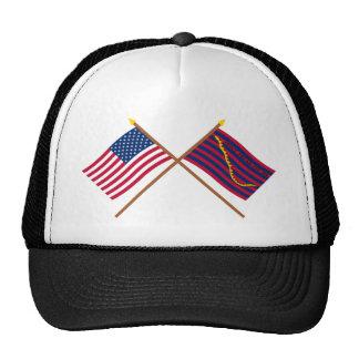 Banderas cruzadas de la marina de guerra de los E Gorro De Camionero