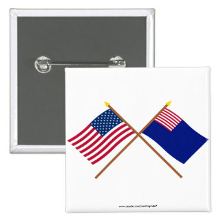 Banderas cruzadas de la marina de guerra de los E. Pin Cuadrada 5 Cm